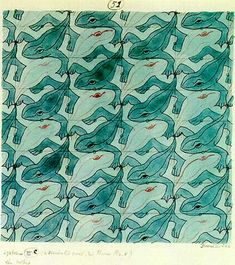 1942 frog theme tessellation art by M. C. Escher