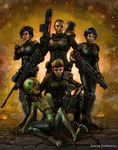 Stylized illustration of a combat squad from X-COM: UFO Defense from MicroProse, 1994. Illustration by Sir Tiefling.