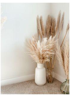 Living Room Decor, Bedroom Decor, Grass Decor, Big Vases, Aesthetic Room Decor, Home Room Design, Design Kitchen, White Vases, Home Decor Inspiration