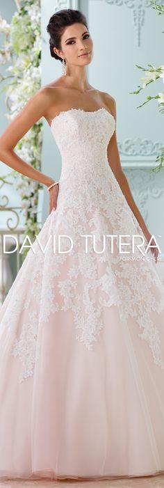 The David Tutera for Mon Cheri Spring 2016 Wedding Gown Collection - Style No. 116202 Soleleil #laceweddingdresses