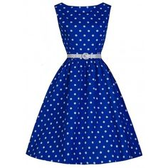 Lindy Bop Blue Polka Dot 'Audrey' Vintage Dress