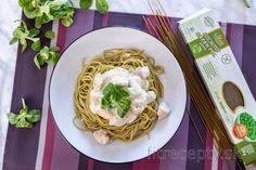 Hráškové špagety s kuracím mäsom v bryndzovej omáčke Tofu, Smoothie, Spaghetti, Good Food, Healthy Recipes, Ethnic Recipes, Diet, Smoothies, Healthy Eating Recipes