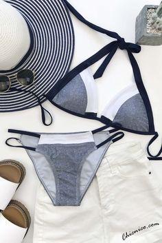 $21.99  Chicnico Women's Blue Bikini Halter Strappy Sexy Fashion Beach Push up Swimsuit