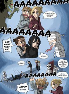 Attack On Titan Comic, Attack On Titan Ships, Attack On Titan Fanart, Armin, Eren X Mikasa, Aot Funny, Funny Comics, Funny Memes, Anime Meme