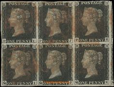 Great Britain, 1840 Mi.1b, SG.2, Black Penny, black, plate 5, blk-of-6 characters P-I/Q-K, light vert. fold, from the front small, full to wide margins, R very wide margins with part of side stmp, red postmark Maltese cross, exp. Diena and G. Buhler - marks umisteny quite lower (it means. perfect condition), rarity classic philately, according to dostupnych information in the Czech market block this size still never nenabizen, evidently unrepeatable chance, cat. Gibbons minimal. £22500
