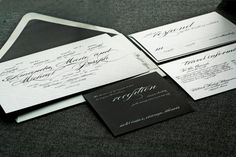 "Black Tie Wedding Invitations, Calligraphy Wedding Invitations, Black, White and Silver, ""Modern Love"" Flat Panel, No Layers"