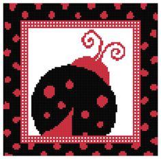 Lady Bug Black with Red Spots Cross Stitch Pattern