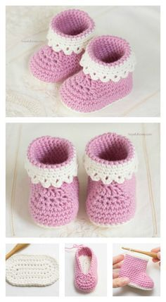 Model Pink Lady crochet free baby booties Learn more about babies in Somosmamas. Model Pink Lady crochet free baby booties Learn more about babies in Somosmamas. Crochet Baby Boots, Baby Girl Crochet, Crochet Baby Clothes, Crochet Slippers, Crochet For Kids, Free Crochet, Crochet Shoes, Baby Slippers, Knitted Baby