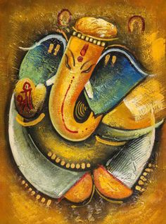 Ganesha with Golden Dots - Handpainted Art Painting - X Ganesha Drawing, Lord Ganesha Paintings, Ganesha Art, Krishna Art, Paintings Online India, Indian Art Paintings, Online Painting, Ganesha Pictures, Shri Ganesh