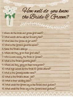 Looking for a bridal shower game? Or something for a Jack & Jill or Buck & Doe? HOW WELL DO YOU KNOW THE BRIDE AND GROOM!?! Instant Download! Do you want the questions customized?? Contact the shop and we can create a private listing for you. WANT THEM PRINTED!?! Message the shop the