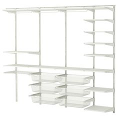 ALGOT Wall upright/shelves/rod - IKEA- opt 3 instead of  complete shelving unit on right side make bottom portion for pants and additional shirt hanging space.