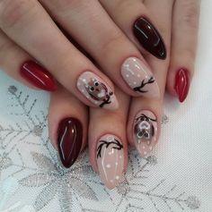 2. Nuante de rosu si bufnite In aceasta iarna putem unghiile in nuante - Cele mai frumoase 15 modele de manichiura pentru iarna