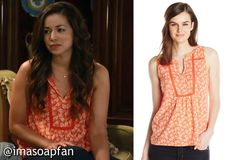 I'm a Soap Fan: Sabrina Santiago's Coral Print Top - General Hospital, Season 53, Episode 49, 06/09/15 #GH #GeneralHospital