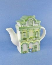 Ceramic Teapot Novelty Post Office 3 Story Green China Looks Hand painted