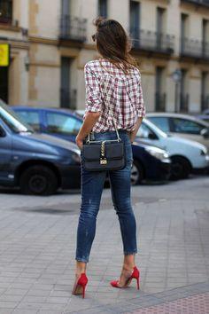 Jeans, red heels