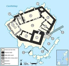 Floor plan of Kisimul Castle, Scotland, United Kingdom. 1  Keep 2  Kitchen 3  Tanist House 4  Postern 5  Marion of the Head's Addition 6  Great Hall 7  Watchtower 8  Chapel 9  Gockman's House 10  Courtyard 11  Gate 12  Slipway 13  Creek 14  Breakwater wall 15  Crew's house