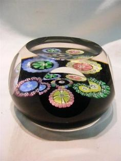 Caithness Glass 5 Sided 1982 Paperweight Mushrooms & Millefiori Signed