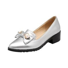 Carolbar Women's Pointed Toe Bows Rhinestones Bead Low Heel Loafers Shoes ** Read more reviews of the product by visiting the link on the image.