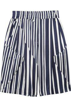 Thakoon Addition Striped silk-blend shorts   NET-A-PORTER