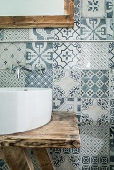Hally's Parsons Green, patchwork of blue and white tiles