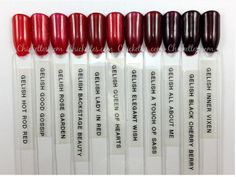 Chickettes Gelish Red comparison, take from the website: http://www.chickettes.com/gelish-swatches/