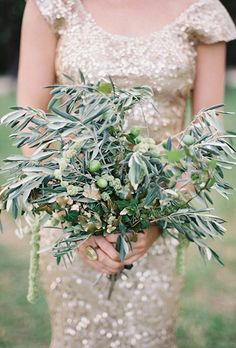 Herb Wedding Bouquet with Sage and Olive Branch