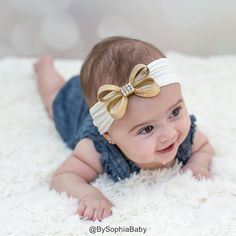 Gold Baby Headband Gold Bow Headband Headwrap by BySophiaBaby