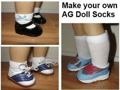 a tutorial to make socks for American Girl Dolls