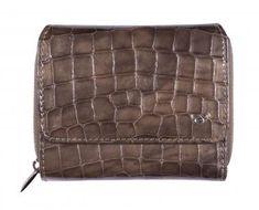 Portmonee Golden Head Taupe grau Cayenne Überschlag Kroko - Bags & more Header, Rind, Messenger Bag, Satchel, Bags, See Through, Taupe Colour, Handbags, Crossbody Bag