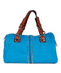 Look what I found on #zulily! Blue & Brown Studded Satchel by Alfa #zulilyfinds