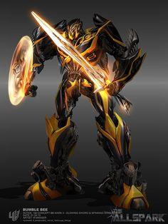Bumble-bee con escudo y espada reluciendo a fuego.