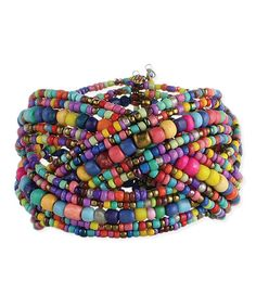 Look what I found on #zulily! Rainbow Beaded Mosaic Weave Cuff #zulilyfinds