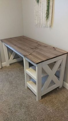 Photo Credit: PorterBuilt Furniture DIY Farmhouse Desk plans that will make your home office pop! Need an office farmhouse desk to spice up the home office? These Farmhouse Desk Plans will make your home office come to life. Farmhouse Desk, Farmhouse Furniture, Rustic Furniture, Cheap Furniture, Modern Furniture, Diy Home Office Furniture, Furniture Stores, Discount Furniture, Outdoor Furniture
