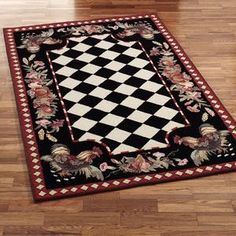 Lovely Rooster Rug Black And White With Floral Or Other Boarder