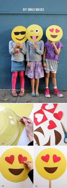 Funny DIY Homemade Photo Booth Props | DIY Emoji Masks by DIY Ready at http://diyready.com/19-cool-diy-photo-booth-props/: