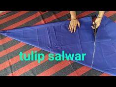 Tulip salwar cutting and stitching/ ट्युलिप सलवार / tulip / salwar cutting / - Modern Kurti Designs Party Wear, Salwar Designs, Skirt Patterns Sewing, Blouse Patterns, Smocking Patterns, Pattern Sewing, Pattern Drafting, Dress Neck Designs, Blouse Designs