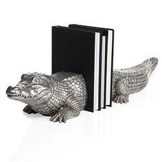Alligator Bookends - Silver decor. These looked much more impressive in person.