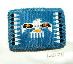 "3.5x2.5"" Beautiful loom beaded Thunderbird  belt buckle. Tightly sewn over a sturdy metal buckle with a leather backing.  Native American made.  $75.00 w/ free shipping. #thunderbird #nativeamerican #beltbuckle"