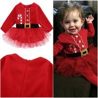 Wish | Fashion Newborn Baby Girl Long Sleeve Santa Claus Tulle Dress Outfits Costume