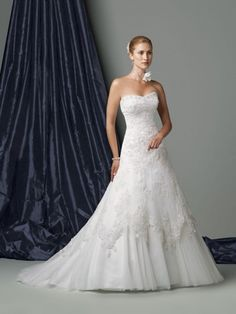 Organza Softly Curved Neckline Low Dipped Back Bodice A-line Wedding Dress