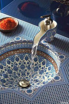 Mediterranean Powder Room with High ceiling, Kohler Marrakesh Design On Bol Bathroom Faucet with Single Lever Handle