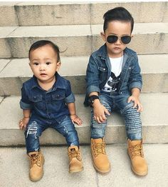 Tag your bestie! Love seeing these, show us! : @vhinn05 #minilicious #denim #timberland #matchymatchy #twinning