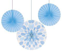 Paper Fans 12'' & 16'', Dots/Stripes, Pastel Blue (18/case)