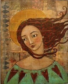 Red haired Angel by artist Jane DesRosier Gritty Arts Studio