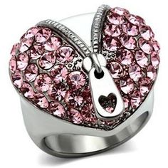 Pink Crystal Zipper Heart Ring Deco Stainless Steel Silver #Unbranded #Cocktail