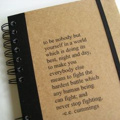 ee cummings Notebook Journal Quote Large Handmade by Zany by zany, $18.00