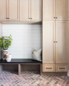 This mudroom I photographed is a forever favorite! Design Photo by me . Mudroom Cabinets, Mudroom Laundry Room, Wood Cabinets, Mud Room Lockers, Entryway Cabinet, Tall Cabinets, Kitchen Cabinets, Brick Flooring, Brick Pavers