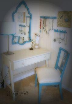 Vintage Painted Furniture Vanity Desk Dressing Table by WelshHill
