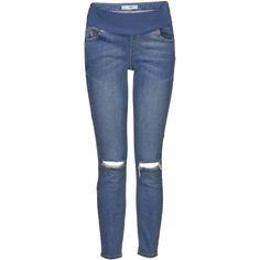 TOPSHOP Maternity Definitives MOTO Ripped Knee Jamie Jeans (120 BGN) ❤ liked on Polyvore featuring maternity, bottoms and mid stone