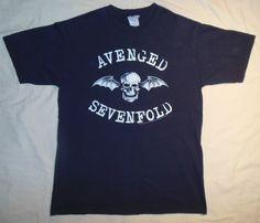 Rare 2005 Avenged Sevenfold Band Concert T Shirt Black & White Skull Bat Mens M from $16.0